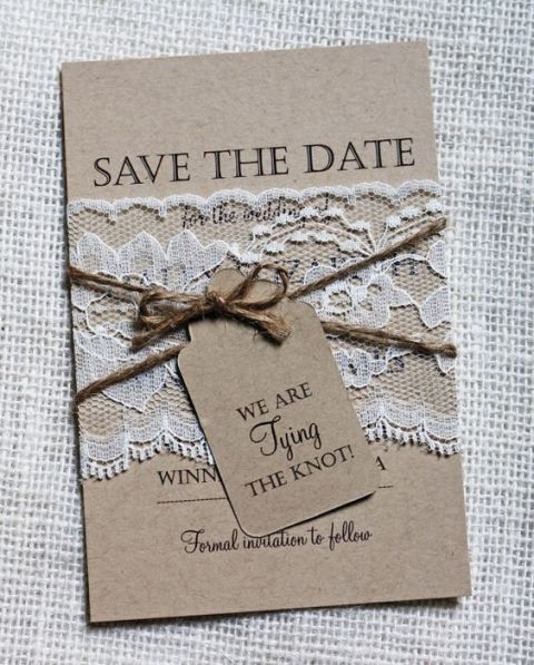 Gentle craft paper invitation with lace and twine