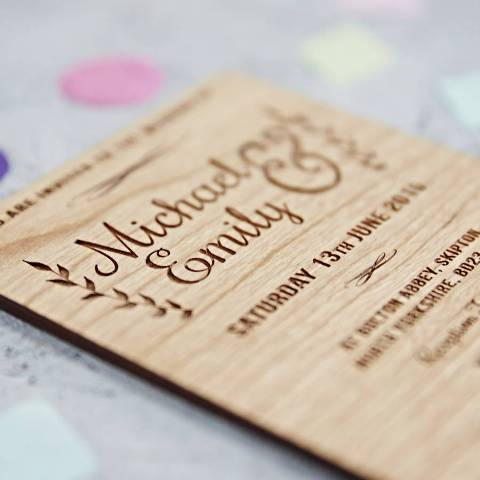 Gentle wood wedding invitation