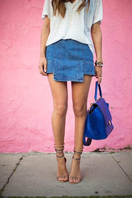cutout denim skirt with a white t shirt