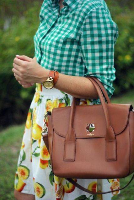 Bold look with fruit print skirt and plaid shirt