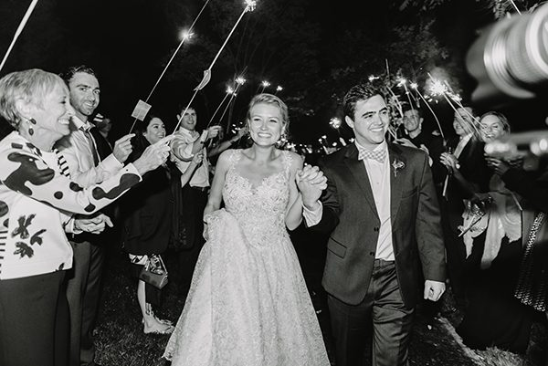 sparkler exits - photo by L. Hewitt Photography http://ruffledblog.com/heirloom-inspired-island-wedding