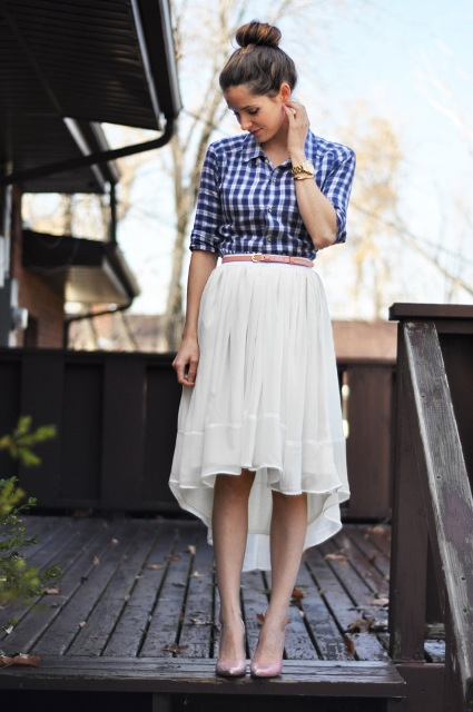 Look with white belted high low skirt and button down shirt