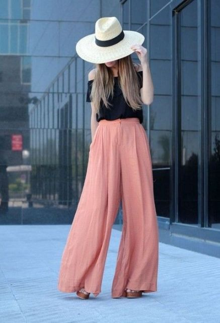 Summer look with high waist pants and wide brim hat