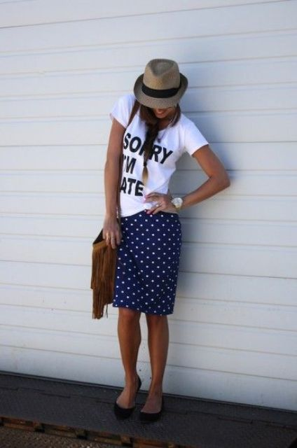 Summer look with polka dot skirt, t shirt and hat