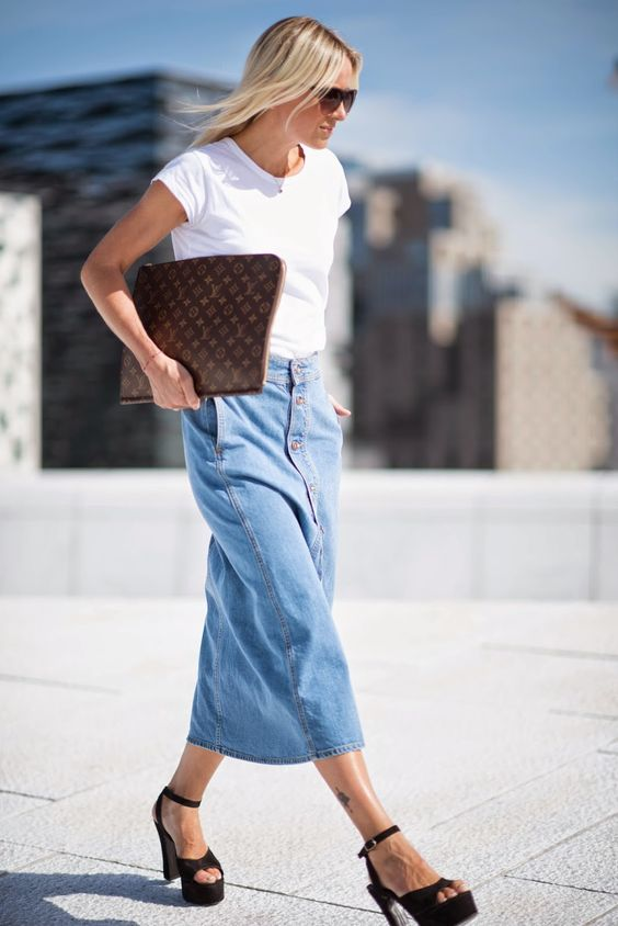 maxi button down denim skirt with a white t shirt