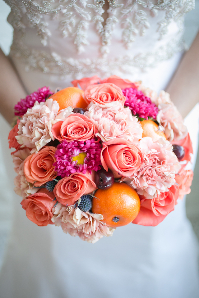 Coral, orange, and blush bridal bouquet   Rachael Hall Photography