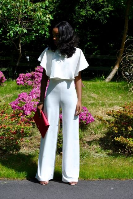 70's styled look with flare high waist trousers