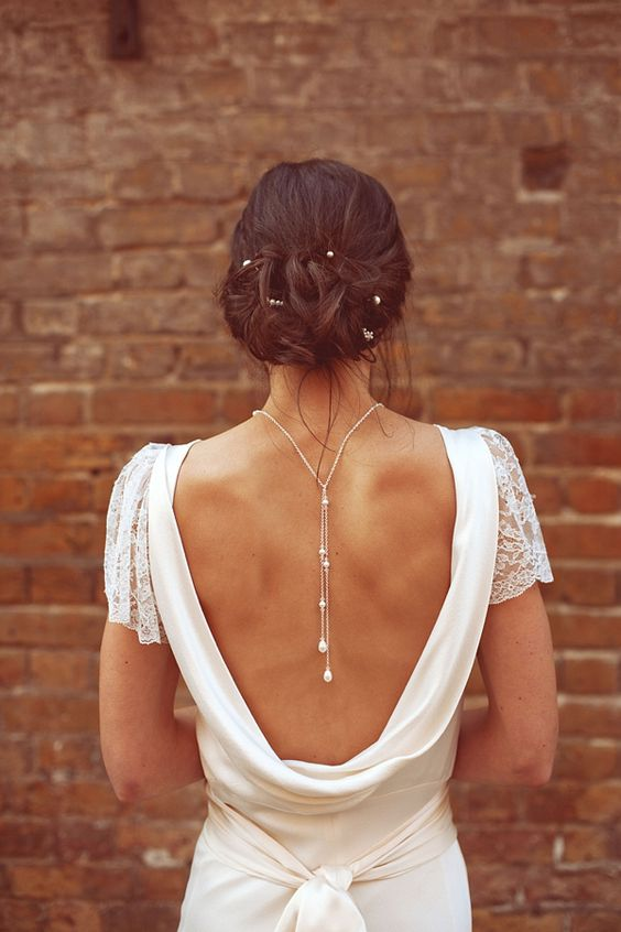 elegant chain pearl back necklace