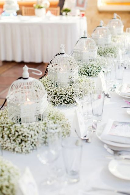 Table centerpiece with birdcage