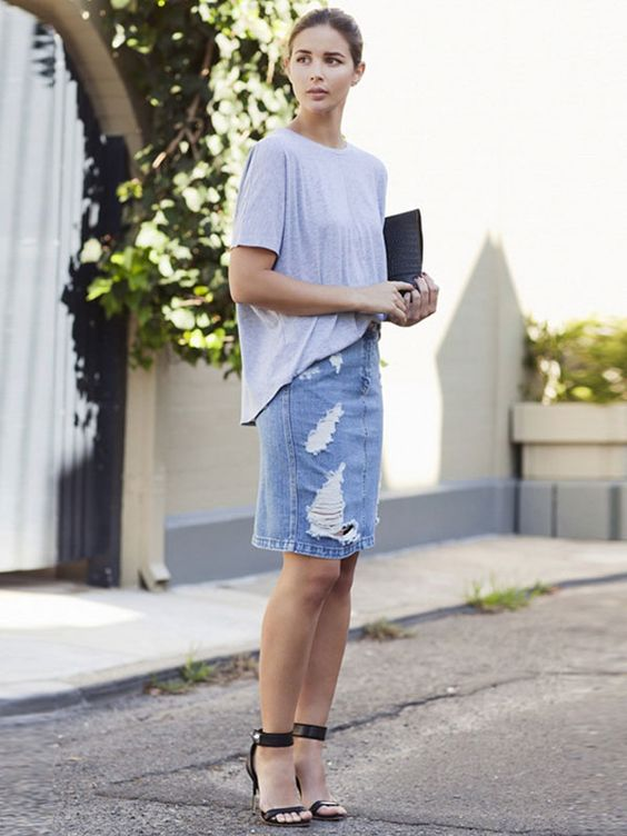 distressed denim pencil skirt with a t shirt