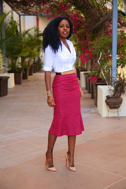 Look with pink trumpet skirt and white shirt