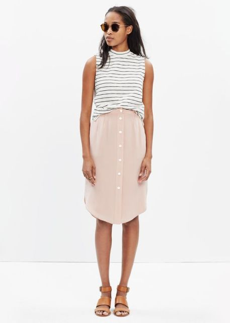 Midi button front skirt and striped shirt