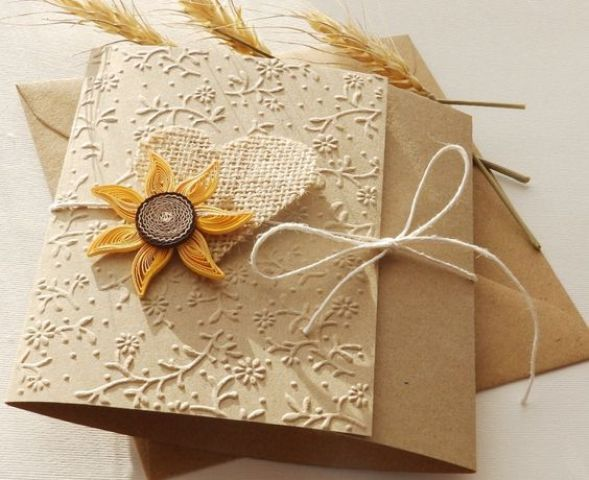 Burlap wedding invitation with faux sunflower