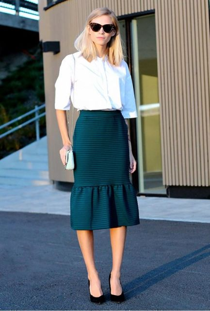 Office look with trumpet skirt and white shirt