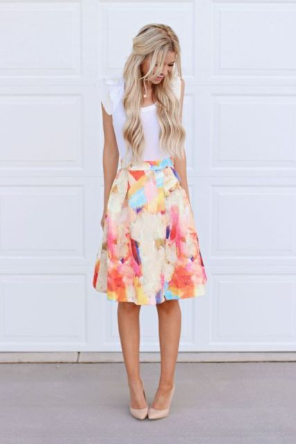 Gentle outfit with watercolor skirt and white t shirt