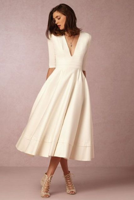 plain white midi dress