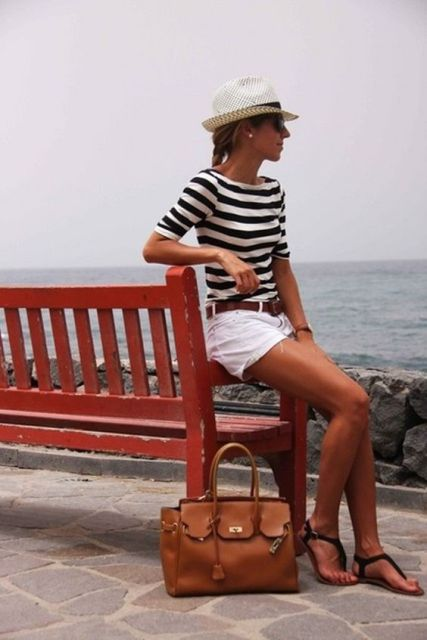 Nautical look with white shorts and striped shirt