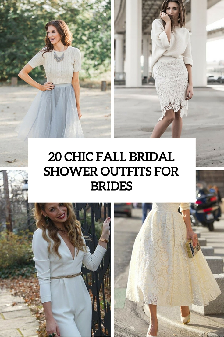 20 chic fall bridal shower outfits for brides cover