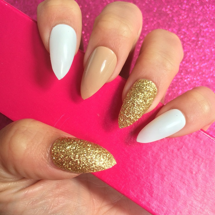 White And Gold Combination Manicure Pedicure Are One Of The Essentials Every Womens Style When It Is