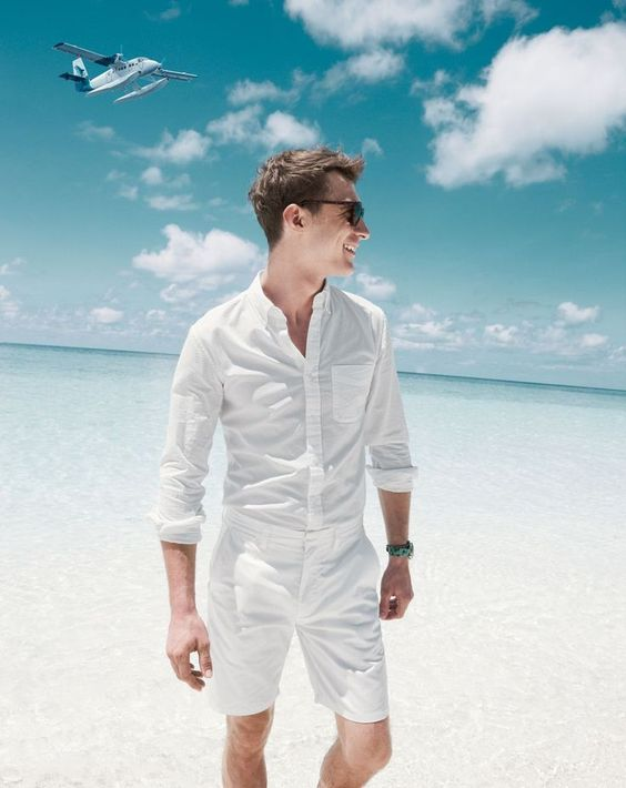 beach all white look with a white shirt and shorts