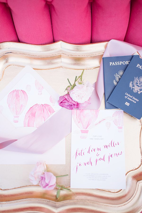hot pink wedding invitations - photo by Elizabeth Moore Photography http://ruffledblog.com/come-fly-away-with-me-wedding-inspiration