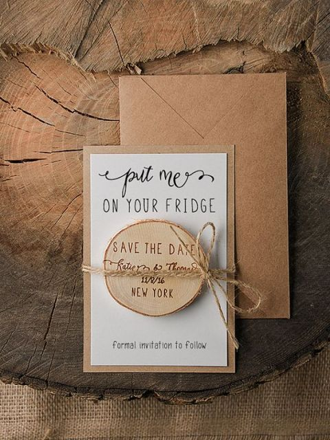 Wedding invitation with save the date magnet