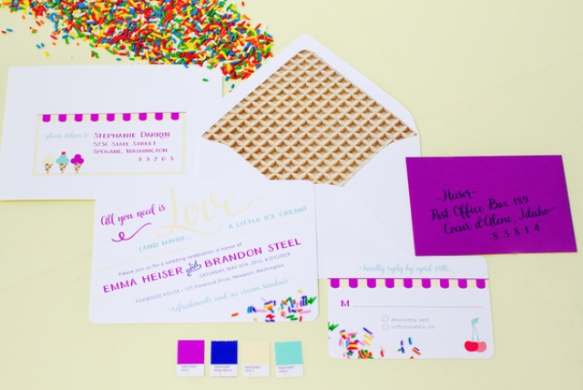 bold invitations with waffle printed envelopes