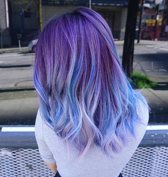 Dusty Purple Hair with Blue Lowlights