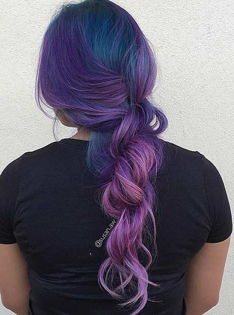 Dark Blue and Purple Hair Look