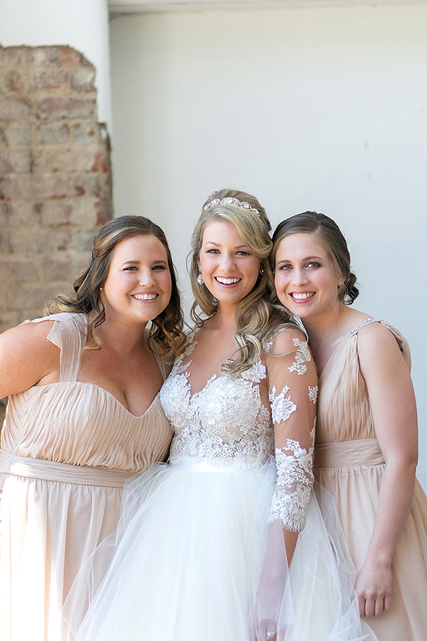 neutral bridesmaids dresses - Golden Sands Wedding Inspiration - photo by Katherine Birkbeck Photography http://ruffledblog.com/golden-sands-wedding-inspiration