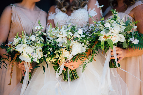 white and green botanical bouquets - photo by Heather Faulkner Photography http://ruffledblog.com/golden-sands-wedding-inspiration