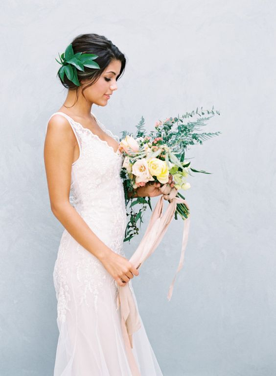 V neckline lace gown