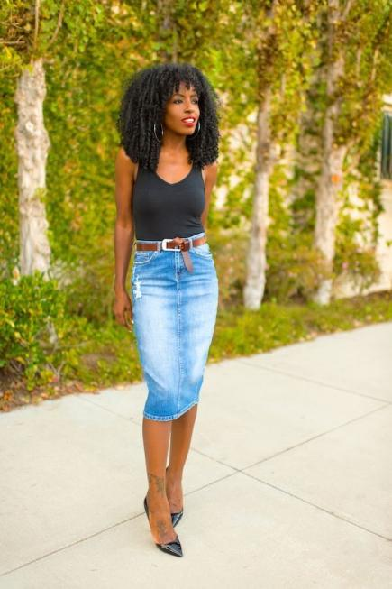 pencil denim midi with a black top