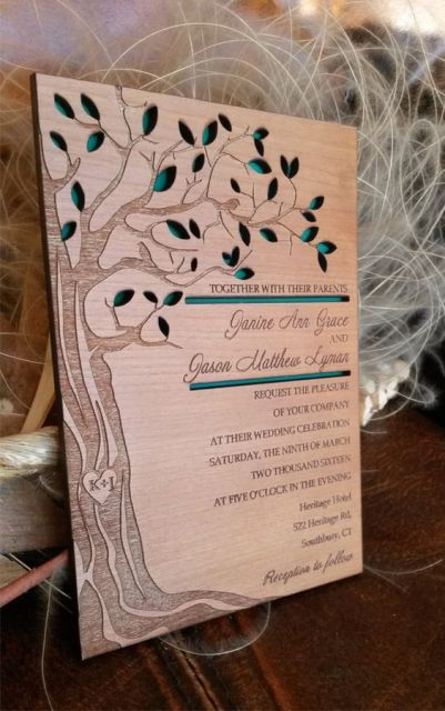 Original wood wedding invitation