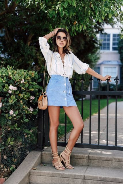 Look with lace up shirt and button front skirt