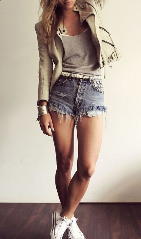 denim shorts, a zipper jacket and a grey top
