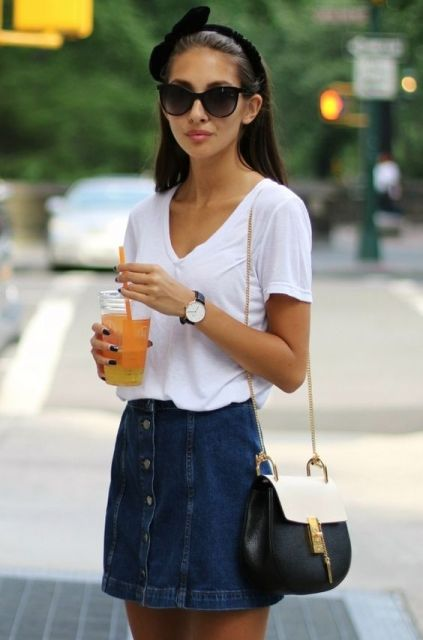Denim button front skirt with white shirt