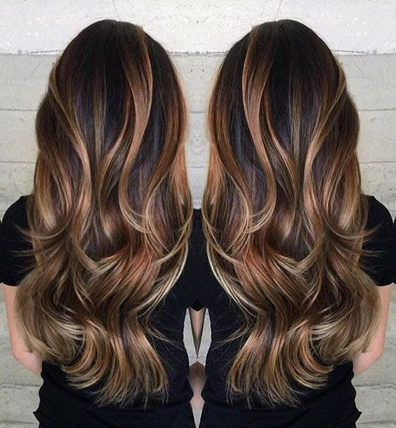 brown hair with caramel and blond highlights