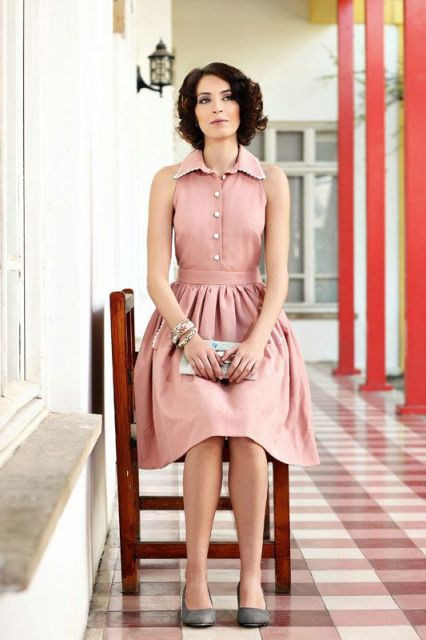 Gentle pink shirtdress