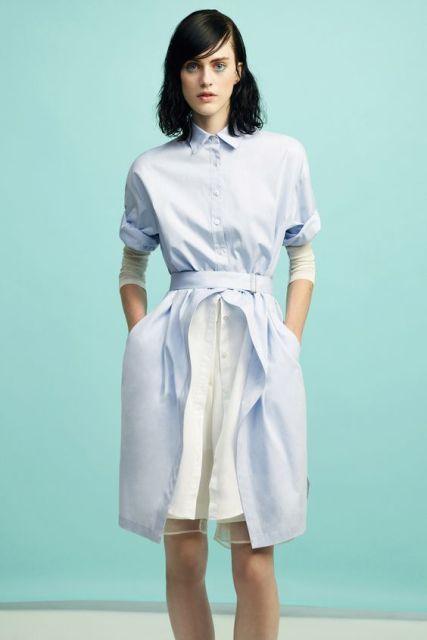 Gentle blue shirtdress for fashionable women