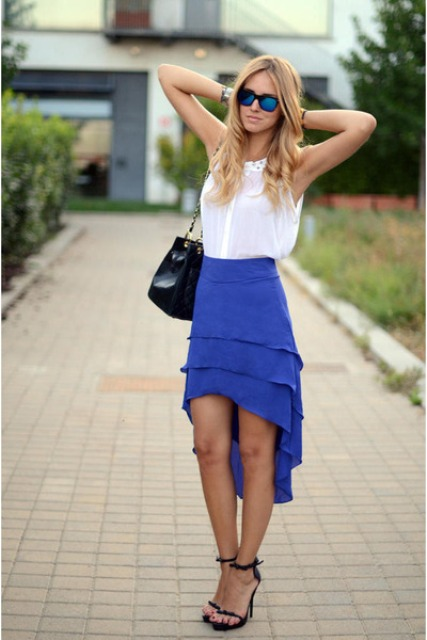 Casual look with blue high low skirt and white blouse