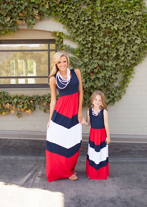 navy, red and white chevron maxi dresses