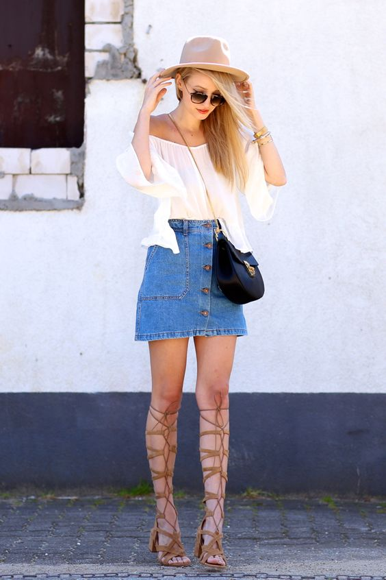 off the shoulder top, a button down denim skirt and high lace up sandals