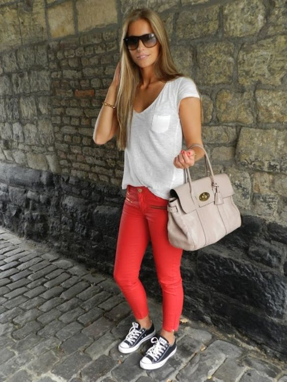 bold pants, a white tee and converse