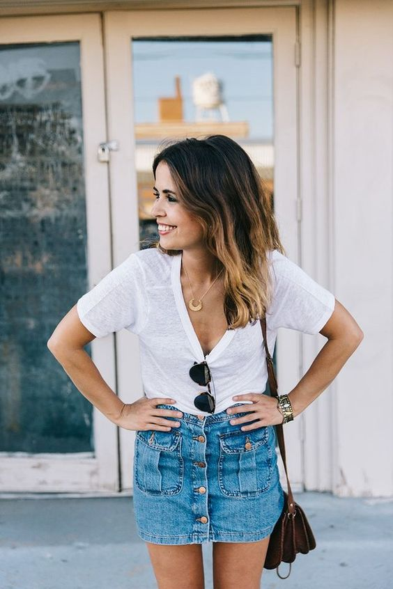 button down mini with a simple white tee
