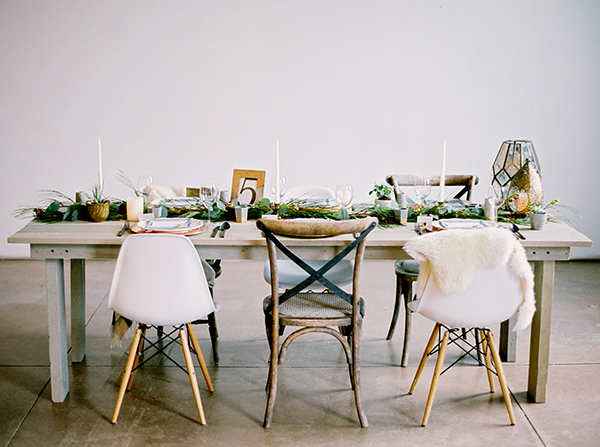 unique wedding table ideas - photo by Milton Photography http://ruffledblog.com/industrial-greenhouse-wedding-ideas