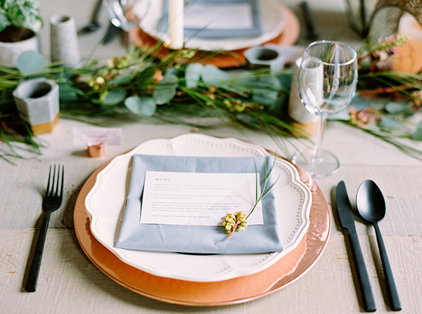 copper wedding details - photo by Milton Photography http://ruffledblog.com/industrial-greenhouse-wedding-ideas