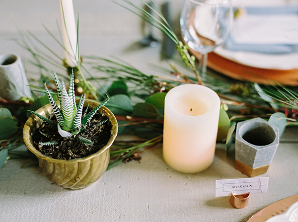 potted plants - photo by Milton Photography http://ruffledblog.com/industrial-greenhouse-wedding-ideas