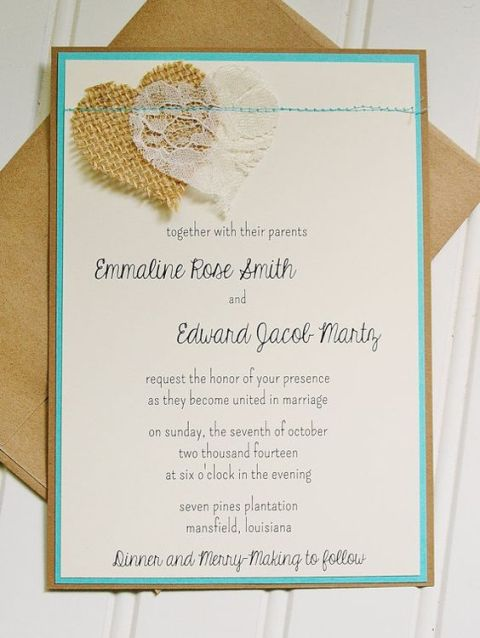 Wedding invitation with burlap and lace