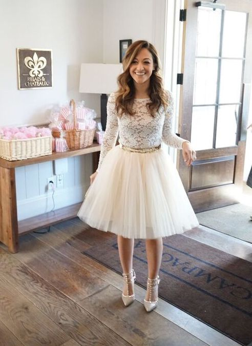 white tutu, lace shirt and grey pumps